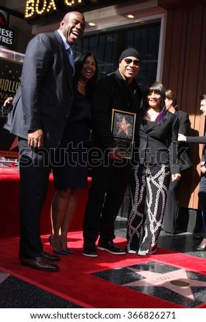 LOS ANGELES - JAN 21:  Magic Johnson, LL Cool J at the LL Cool J Hollywood Walk of Fame Ceremony at the Hollywood and Highland on January 21, 2016 in Los Angeles, CA - stock photo