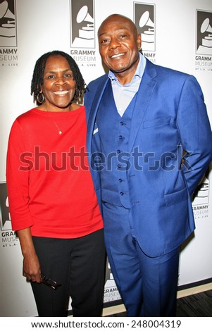 LOS ANGELES - JAN 28: Marcia Thomas, Earl Bryant at the 30th Anniversary of 'We Are The World' at The GRAMMY Museum on January 28, 2015 in Los Angeles, California - stock photo