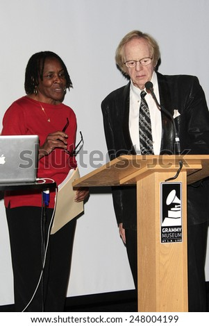 LOS ANGELES - JAN 28: Marcia Thomas, Ken Kragen at the 30th Anniversary of 'We Are The World' at The GRAMMY Museum on January 28, 2015 in Los Angeles, California - stock photo