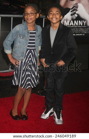 """LOS ANGELES - JAN 20:  Marsai Martin, Miles Brown at the """"Manny"""" Los Angeles Premiere at a TCL Chinese Theater on January 20, 2015 in Los Angeles, CA - stock photo"""