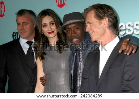 LOS ANGELES - JAN 5:  Matt LeBlanc, Emmy Rossum, Don Cheadle, William H Macy at the Showtime Celebrates All-New Seasons Comedies at Cecconi's on January 5, 2014 in West Hollywood, CA - stock photo