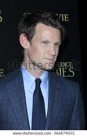 LOS ANGELES - JAN 21:  Matt Smith at the Pride And Prejudice And Zombies Premiere at the Harmony Gold Theatre on January 21, 2016 in Los Angeles, CA - stock photo