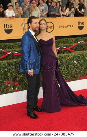 LOS ANGELES - JAN 25:  Matthew McConaughey, Camila Alves McConaughey at the 2015 Screen Actor Guild Awards at the Shrine Auditorium on January 25, 2015 in Los Angeles, CA - stock photo