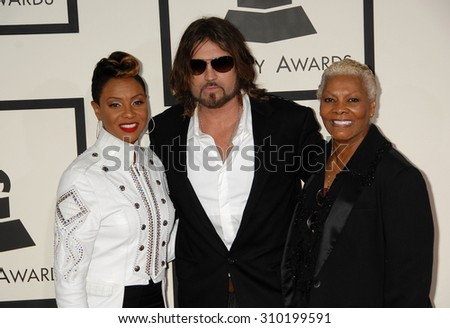 LOS ANGELES - JAN 26:  MC Lyte, Billy Ray Cyrus and Dionne Warwick arrives at the 56th Annual Grammy Awards Arrivals  on January 26, 2014 in Los Angeles, CA                 - stock photo
