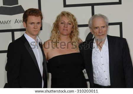 LOS ANGELES - JAN 26:  Merle Haggard, wife Theresa and son Ben arrives at the 56th Annual Grammy Awards Arrivals  on January 26, 2014 in Los Angeles, CA                 - stock photo