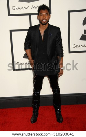LOS ANGELES - JAN 26:  Miguel arrives at the 56th Annual Grammy Awards Arrivals  on January 26, 2014 in Los Angeles, CA                 - stock photo