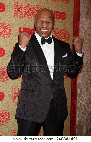 LOS ANGELES - JAN 12:  Mike Tyson at the HBO 2014 Golden Globe Party  at Beverly Hilton Hotel on January 12, 2014 in Beverly Hills, CA - stock photo