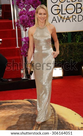 LOS ANGELES - JAN 12:  Naomi Watts  arrives to the 2014 Golden Globe Awards  on January 12, 2014 in Beverly Hills, CA                 - stock photo