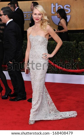 LOS ANGELES - JAN 27:  Naomi Watts arrives to the SAG Awards 2013  on January 27, 2013 in Los Angeles, CA                 - stock photo