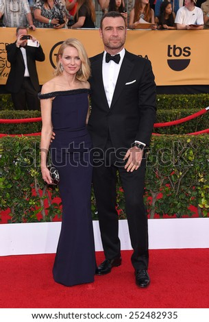 LOS ANGELES - JAN 25:  Naomi Watts & Liev Schreiber arrives to the 21st Annual Screen Actors Guild Awards  on January 25, 2015 in Los Angeles, CA                 - stock photo