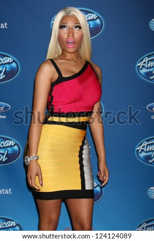 LOS ANGELES - JAN 9:  Nicki Minaj attends the 'American Idol' Premiere Event at Royce Hall, UCLA on January 9, 2013 in Westwood, CA - stock photo