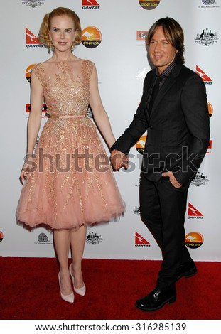 LOS ANGELES - JAN 12 - Nicole Kidman and husband Keith Urban arrives at the 2013 GDay USA Los Angeles Black Tie Gala  on January 12, 2013 in Los Angeles, CA              - stock photo