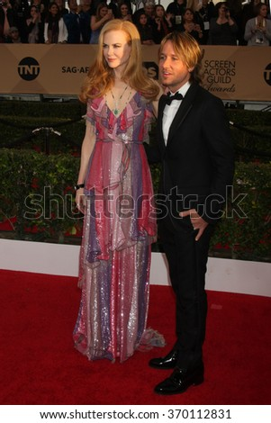LOS ANGELES - JAN 30:  Nicole Kidman, Keith Urban at the 22nd Screen Actors Guild Awards at the Shrine Auditorium on January 30, 2016 in Los Angeles, CA - stock photo