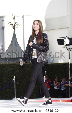 LOS ANGELES - JAN 26: Paris Jackson at the hand and footprint ceremony honoring musician Michael Jackson at Grauman's Chinese Theater on January 26, 2012 in Los Angeles, California - stock photo