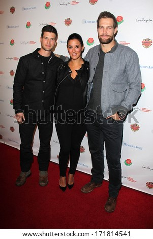 LOS ANGELES - JAN 5:  Parker Young, Angelique Cabral, Geoff Stults at the BCS National Championship Party at Pasadena Convention Center on January 5, 2014 in Pasadena, CA - stock photo