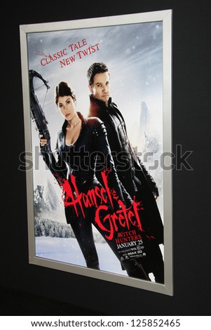 LOS ANGELES - JAN 23: Poster at the LA premiere of Paramount Pictures' 'Hansel And Gretel: Witch Hunters' at Grauman's Chinese Theater on January 24, 2013 in Los Angeles, California - stock photo