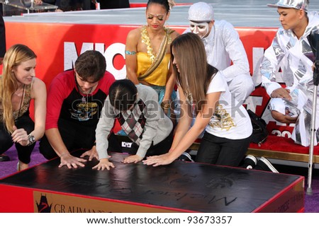 LOS ANGELES - JAN 26: Prince Jackson, Blanket Jackson, Paris Jackson at the Michael Jackson Immortalized  Hand and Footprint Ceremony at Graumans Chinese Theater on January 26, 2012 in Los Angeles, CA - stock photo