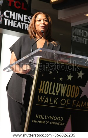 LOS ANGELES - JAN 21:  Queen Latifah at the LL Cool J Hollywood Walk of Fame Ceremony at the Hollywood and Highland on January 21, 2016 in Los Angeles, CA - stock photo