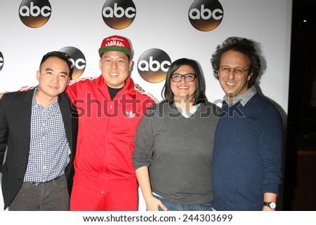 LOS ANGELES - JAN 14:  Randall Park, Eddie Huang, Nahnatchka Khan, Jake Kasdan at the ABC TCA Winter 2015 at a The Langham Huntington Hotel on January 14, 2015 in Pasadena, CA - stock photo