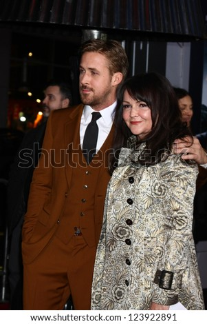 LOS ANGELES - JAN 7:  Ryan Gosling, Donna Gosling arrives at the 'Gangster Squad' Premiere at Graumans Chinese Theater on January 7, 2013 in Los Angeles, CA - stock photo
