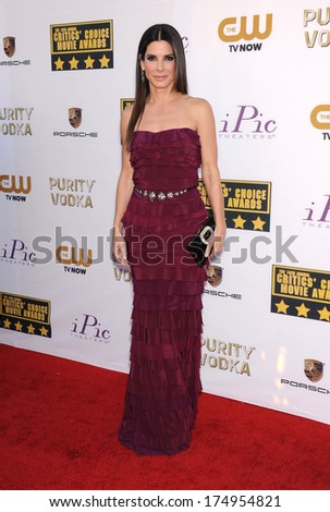 LOS ANGELES - JAN 16:  Sandra Bullock arrives to the Critics' Choice Movie Awards 2014  on January 16, 2014 in Santa Monica, CA                 - stock photo