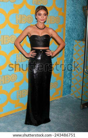 LOS ANGELES - JAN 11:  Sarah Hyland at the HBO Post Golden Globe Party at a Circa 55, Beverly Hilton Hotel on January 11, 2015 in Beverly Hills, CA - stock photo