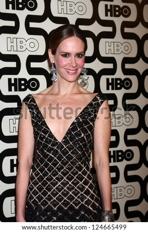 LOS ANGELES - JAN 13:  Sarah Paulson arrives at the 2013 HBO Post Golden Globe Party at Beverly Hilton Hotel on January 13, 2013 in Beverly Hills, CA.. - stock photo