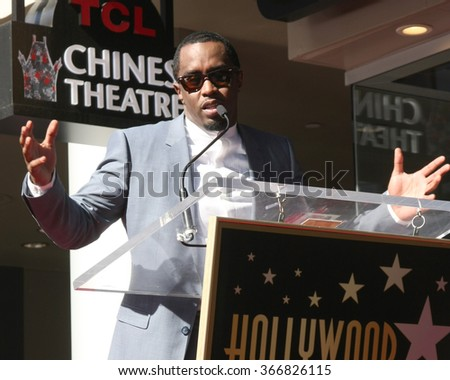 LOS ANGELES - JAN 21:  Sean Combs at the LL Cool J Hollywood Walk of Fame Ceremony at the Hollywood and Highland on January 21, 2016 in Los Angeles, CA - stock photo