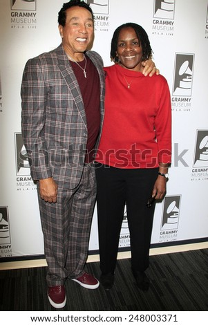 LOS ANGELES - JAN 28: Smokey Robinson, Marcia Thomas at the 30th Anniversary of 'We Are The World' at The GRAMMY Museum on January 28, 2015 in Los Angeles, California - stock photo