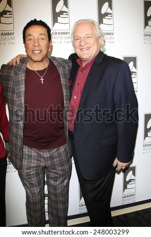 LOS ANGELES - JAN 28: Smokey Robinson, Paul Brownstein at the 30th Anniversary of 'We Are The World' at The GRAMMY Museum on January 28, 2015 in Los Angeles, California - stock photo