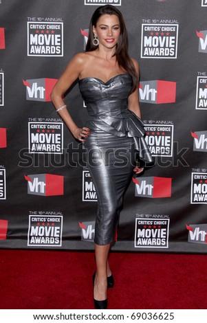LOS ANGELES - JAN 14  Sofia Vergara arrives at the 16th Annual Critics' Choice Movie Awards at Hollywood Palladium on January 14, 2011 in Los Angeles, CA - stock photo