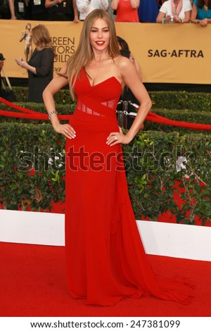 LOS ANGELES - JAN 25:  Sofia Vergara at the 2015 Screen Actor Guild Awards at the Shrine Auditorium on January 25, 2015 in Los Angeles, CA - stock photo