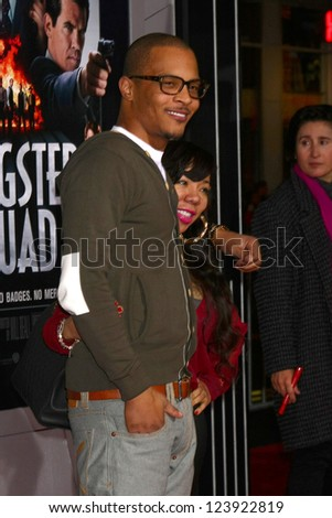 LOS ANGELES - JAN 7:  T.I. arrives at the 'Gangster Squad' Premiere at Graumans Chinese Theater on January 7, 2013 in Los Angeles, CA - stock photo