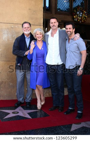 LOS ANGELES - JAN 3:  Taylor Hackford, Helen Mirren, Family at the Hollywood Walk of Fame Star Ceremony for Helen Mirren at Pig 'n Whistle on January 3, 2013 in Los Angeles, CA - stock photo