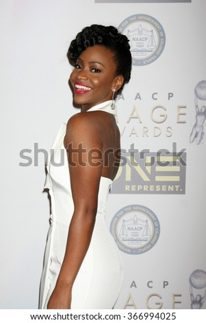 LOS ANGELES - JAN 23:  Teyonah Parris at the 47th NAACP Image Awards Nominees Luncheon at the Beverly Hilton Hotel on January 23, 2016 in Beverly Hills, CA - stock photo