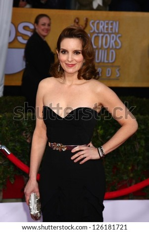LOS ANGELES - JAN 27:  Tina Fey arrives at the 2013 Screen Actor's Guild Awards at the Shrine Auditorium on January 27, 2013 in Los Angeles, CA - stock photo