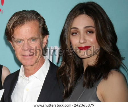 "LOS ANGELES - JAN 5:  William H. Macy, Emmy Rossum at the Showtime Celebrates All-New Seasons Of ""Shameless,"" ""House Of Lies"" And ""Episodes at a Cecconi's on January 5, 2014 in West Hollywood, CA - stock photo"