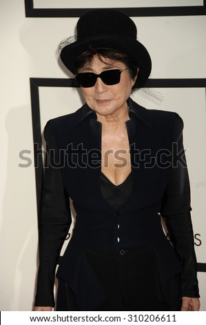 LOS ANGELES - JAN 26:  Yoko Ono arrives at the 56th Annual Grammy Awards Arrivals  on January 26, 2014 in Los Angeles, CA                 - stock photo