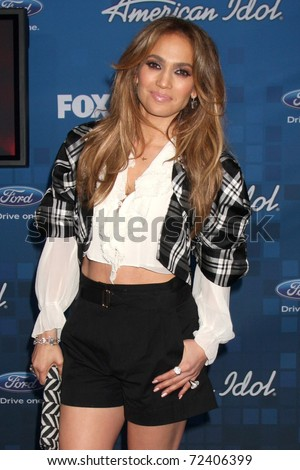 LOS ANGELES -  3: Jennifer Lopez arrives at the American Idol Finalists Party - Season 10 at The Grove on March 3, 2011 in Los Angeles, CA - stock photo