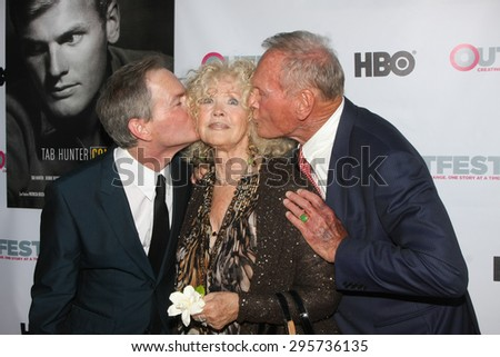 """LOS ANGELES - JUL 11:  Allan Glaser, Connie Stevens, Tab Hunter at the """"Tab Hunter Confidential"""" at Outfest at the Directors Guild of America on July 11, 2015 in Los Angeles, CA - stock photo"""