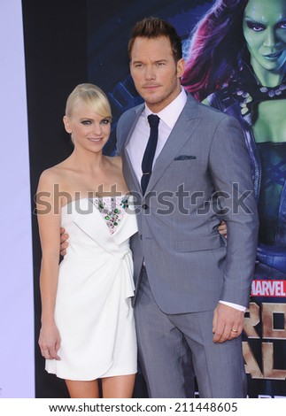 "LOS ANGELES - JUL 21:  Anna Faris & Chris Pratt arrives to the ""Guardians Of The Galaxy"" World Premiere  on July 21, 2014 in Hollywood, CA.                 - stock photo"