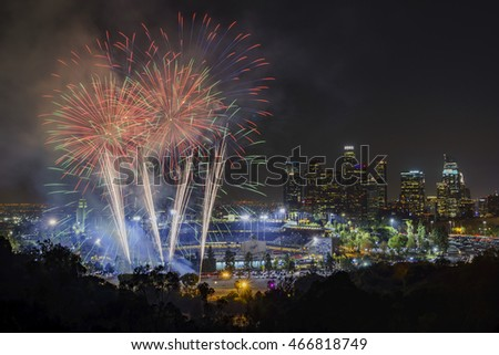 Los Angeles, JUL 29: Beautiful fireworks over the famous Dodger Stadium with downtown view on JUL 29, 2016 at Los Angeles.