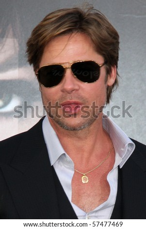 """LOS ANGELES - JUL 19:  Brad Pitt  arrives at the """"Salt"""" Premiere at Grauman's Chinese Theater on July19, 2010 in Los Angeles, CA .... - stock photo"""