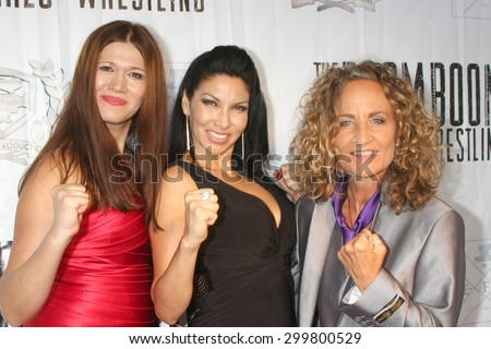 "LOS ANGELES - JUL 23:  Carolin Von Petzholdt, Crystal Santos, Ursel Walldorf at the ""The Boom Boom Girls of Wrestling"" Premiere at the Downtown Independent Theater on July 23, 2015 in Los Angeles, CA - stock photo"