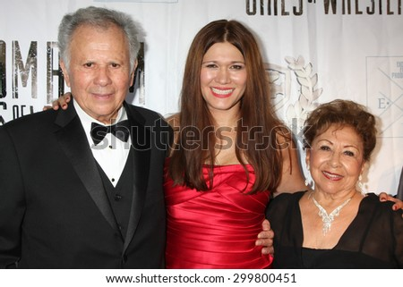 "LOS ANGELES - JUL 23:  Carolin Von Petzholdt, parents at the ""The Boom Boom Girls of Wrestling"" Premiere at the Downtown Independent Theater on July 23, 2015 in Los Angeles, CA - stock photo"