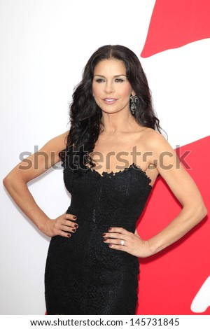 LOS ANGELES - JUL 11: Catherine Zeta Jones at the premiere of Summit Entertainment's 'RED 2' at the Regency Village Theater on July 11, 2013 in Westwood, Los Angeles, California - stock photo