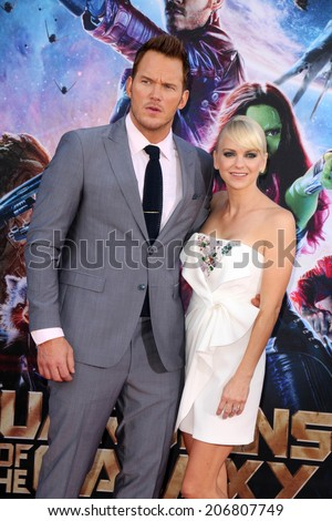 "LOS ANGELES - JUL 21:  Chris Pratt, Anna Faris at the ""Guardians Of The Galaxy"" Premiere at the Dolby Theater on July 21, 2014 in Los Angeles, CA - stock photo"