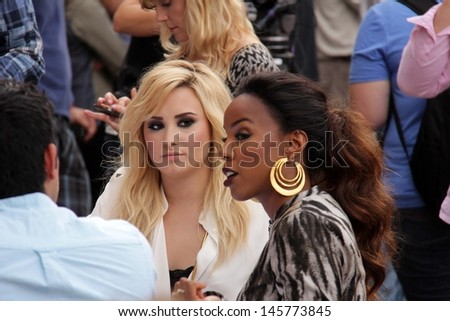 "LOS ANGELES - JUL 11:  Demi Lovato, Kelly Rowland at the ""X-Factor"" Season 3 Photo Call at the Galen Center on July 11, 2013 in Los Angeles, CA - stock photo"
