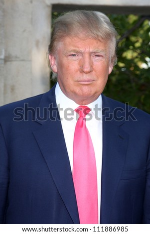 LOS ANGELES - JUL 24:  Donald Trump arrives at  the 12th Annual HollyRod Foundation DesignCare Event at Ron Burkle's Green Acres Estate on July24, 2010 in Beverly Hills, CA . - stock photo