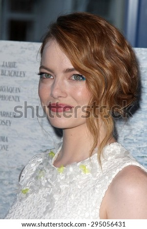 "LOS ANGELES - JUL 9:  Emma Stone at the ""Irrational Man"" Los Angeles Premiere at the Writer's Guild of America Theater on July 9, 2015 in Beverly Hills, CA - stock photo"